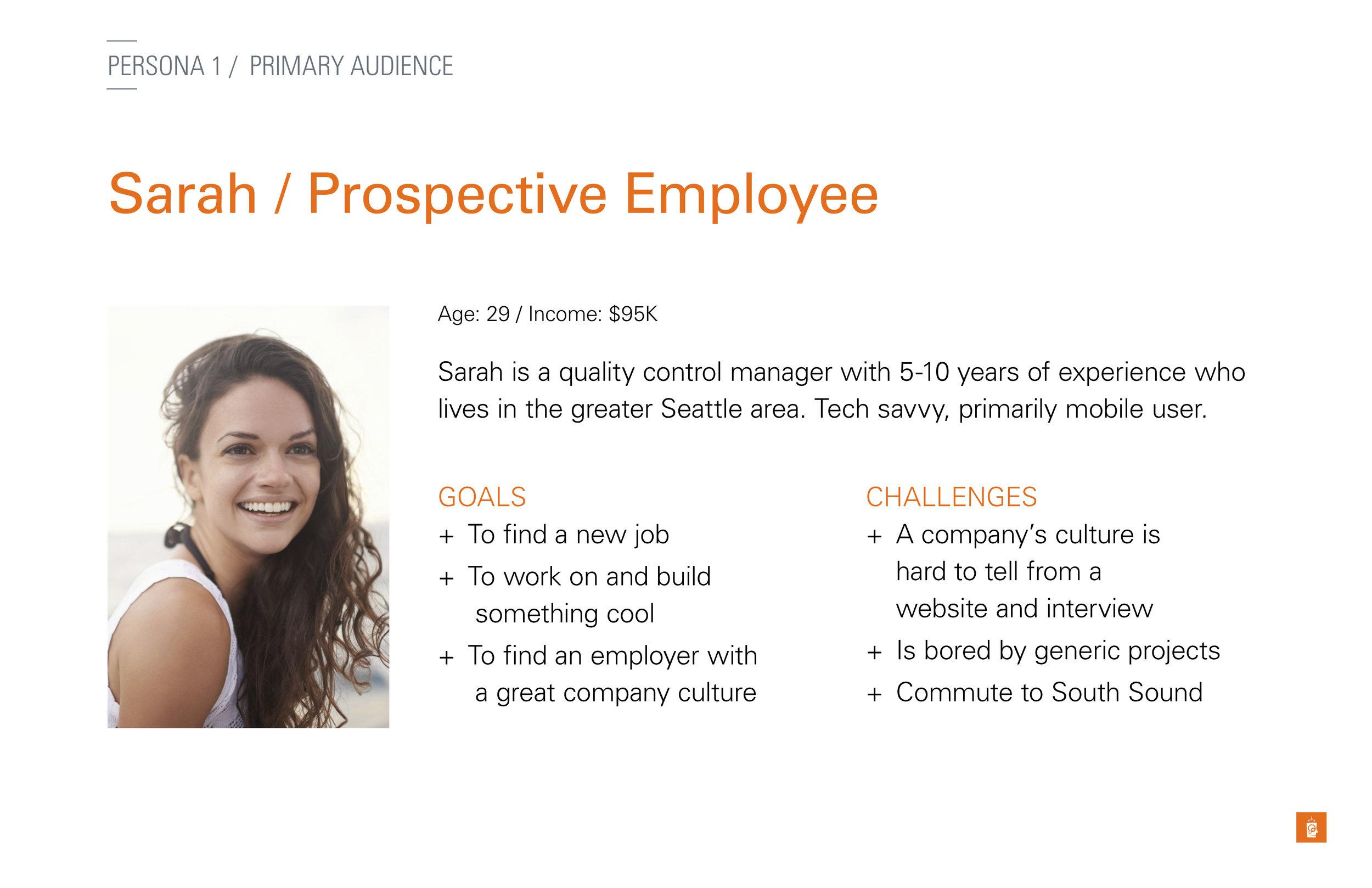 Sarah, the Prospective Employee persona