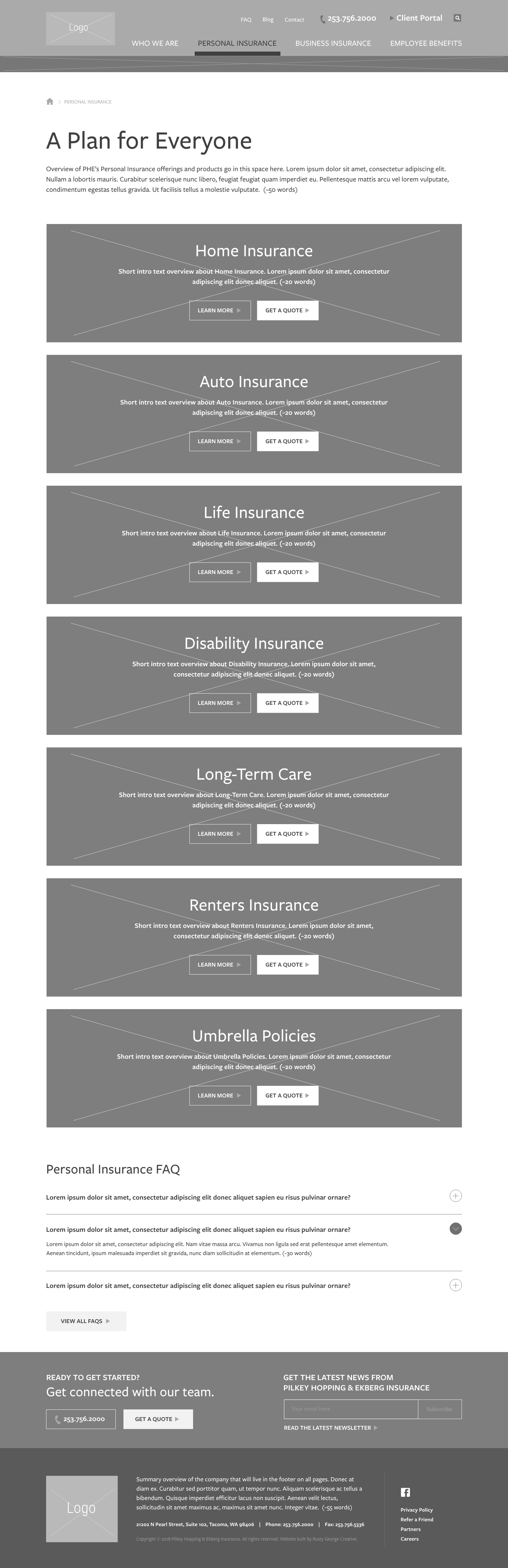 Insurance Landing Page Wireframe