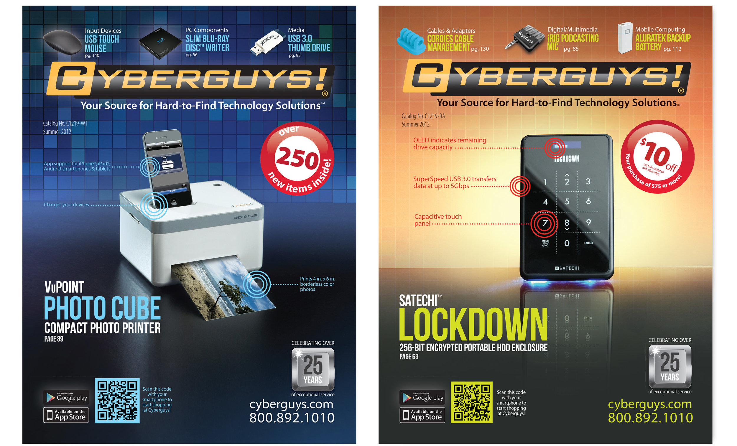 Cyberguys catalog covers. Art direction, photography, and design. © E-filliate Inc.