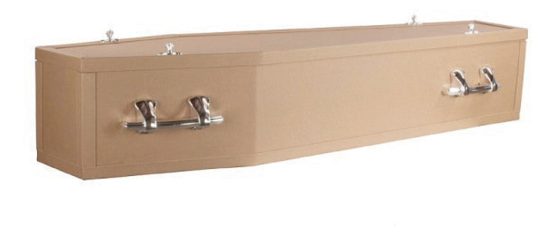 Recycled Cardboard  This Flat Lid Recycled coffin is made from honeycomb cardboard with no veneer. The coffin is a true eco-coffin – less formal yet dignified 100% recycled cardboard with 100% bio-degradable corn starch handles, fittings and trim.