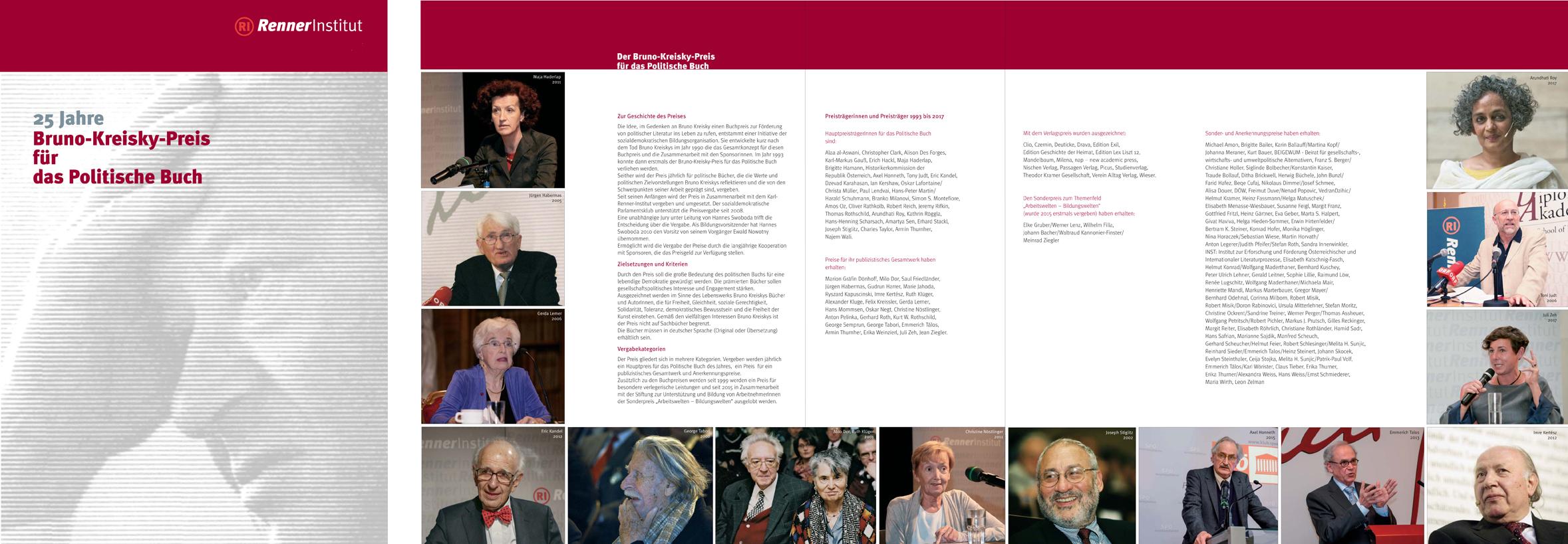 Bruno Kreisky Preis für das Politische Buch, Publications, Certifications for the Renner-institut, Wien