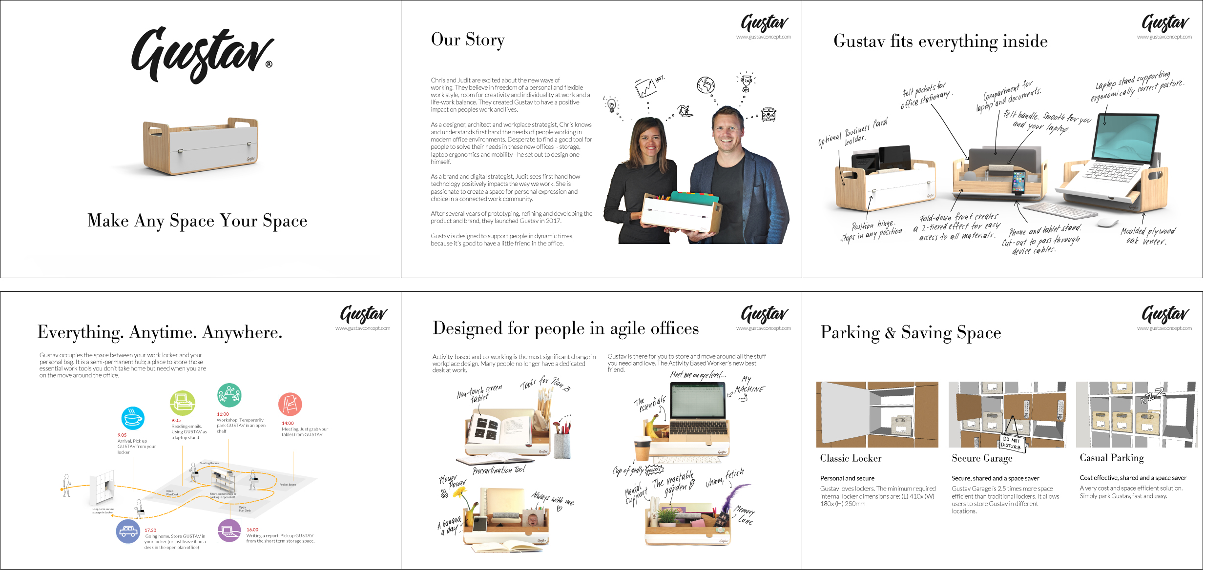 Sales folder for Gustav, Make Any Space Your Space, New Zealand based Company