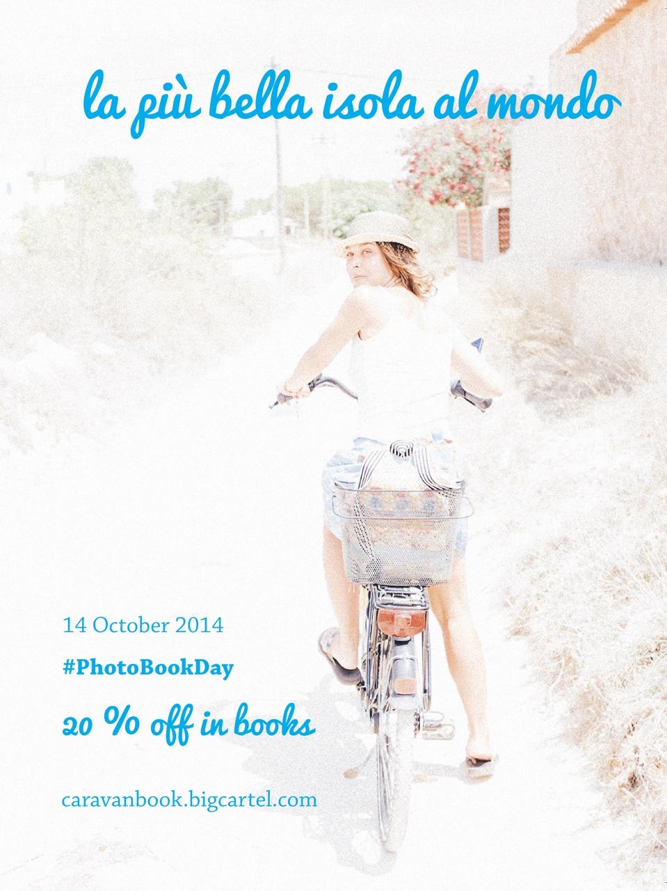 The #PhotobookDay is coming. You will find a  20% off on our first book  'La piú bella isola al mondo'. Visit our bookshop from tonight at 00.00 hours until tomorrow at 23.59. Do not lose this opportunity!     http://caravanbook.bigcartel.com     Don't forget following us on Twitter:  @caravanbook . We would like you to  show us your favourite hotel , that one where you would love to find our photobooks. Mention us and use #PhotobookAmenity & #PhotobookDay for it. Thanks!   ***   Estamos a pocas horas de comenzar el #PhotobookDay. Desde esta noche a las 00.00 horas y hasta mañana a las 23.59 tienes un  descuento del 20% en nuestro primer libro:  'La più bella isola al mondo'. No lo dejes pasar!     http://caravanbook.bigcartel.com     Queremos también invitarte a seguirnos en Twitter:  @caravanbook .  Cuéntanos cuál es tu hotel favorito , ese lugar especial en el que te gustaría encontrar nuestros fotolibros. No olvides mencionarnos y usar los hashtags #PhotobookAmenity y #PhotobookDay. Muchas gracias!
