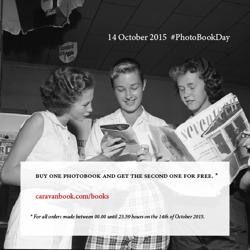 Caravanbook is celebrating the PhotoBookDay. Buy one photobook and get the second one for free. Travel photobooks.