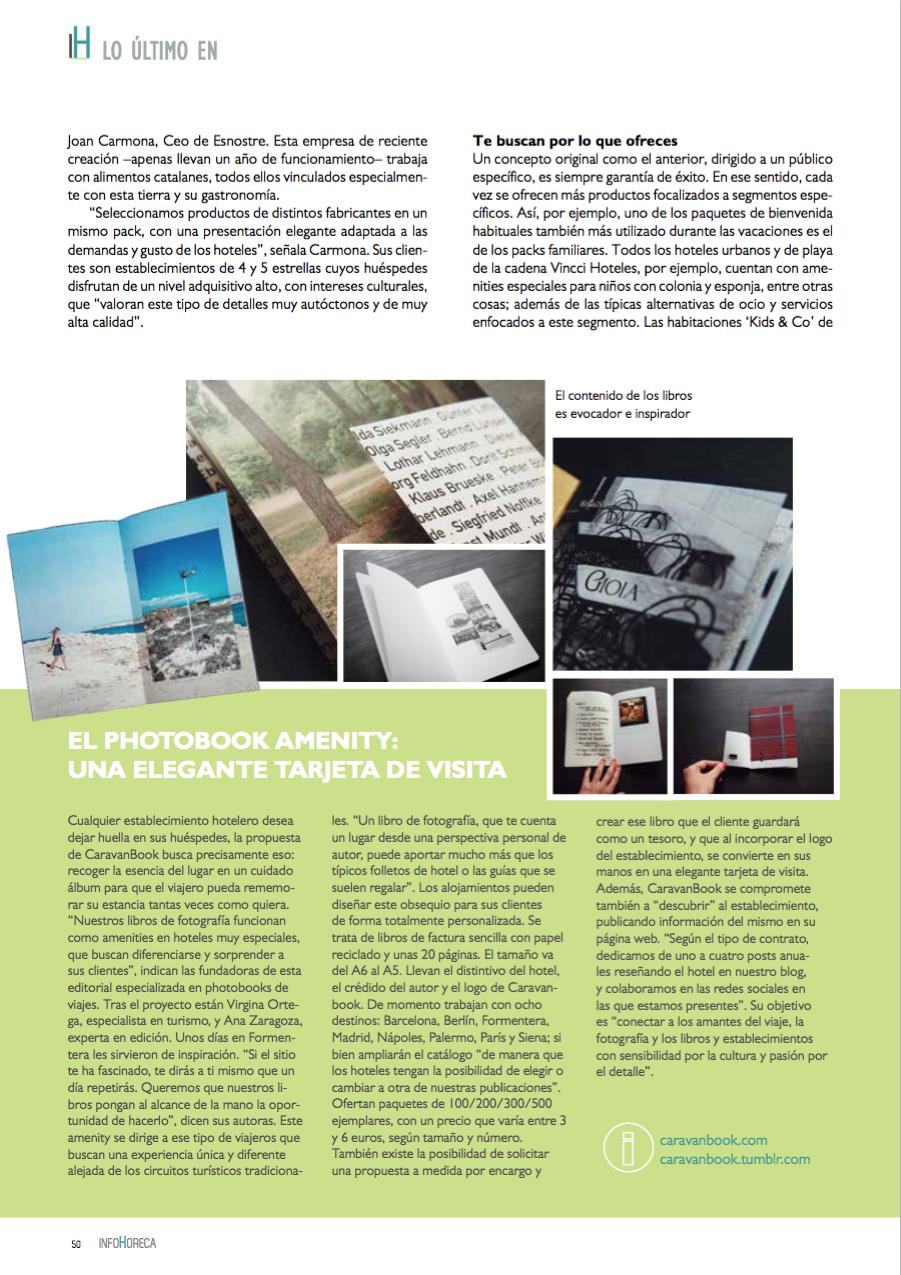 Artículo dedicado a Caravanbook en la revista Infohoreca dirigida al sector hotelero.