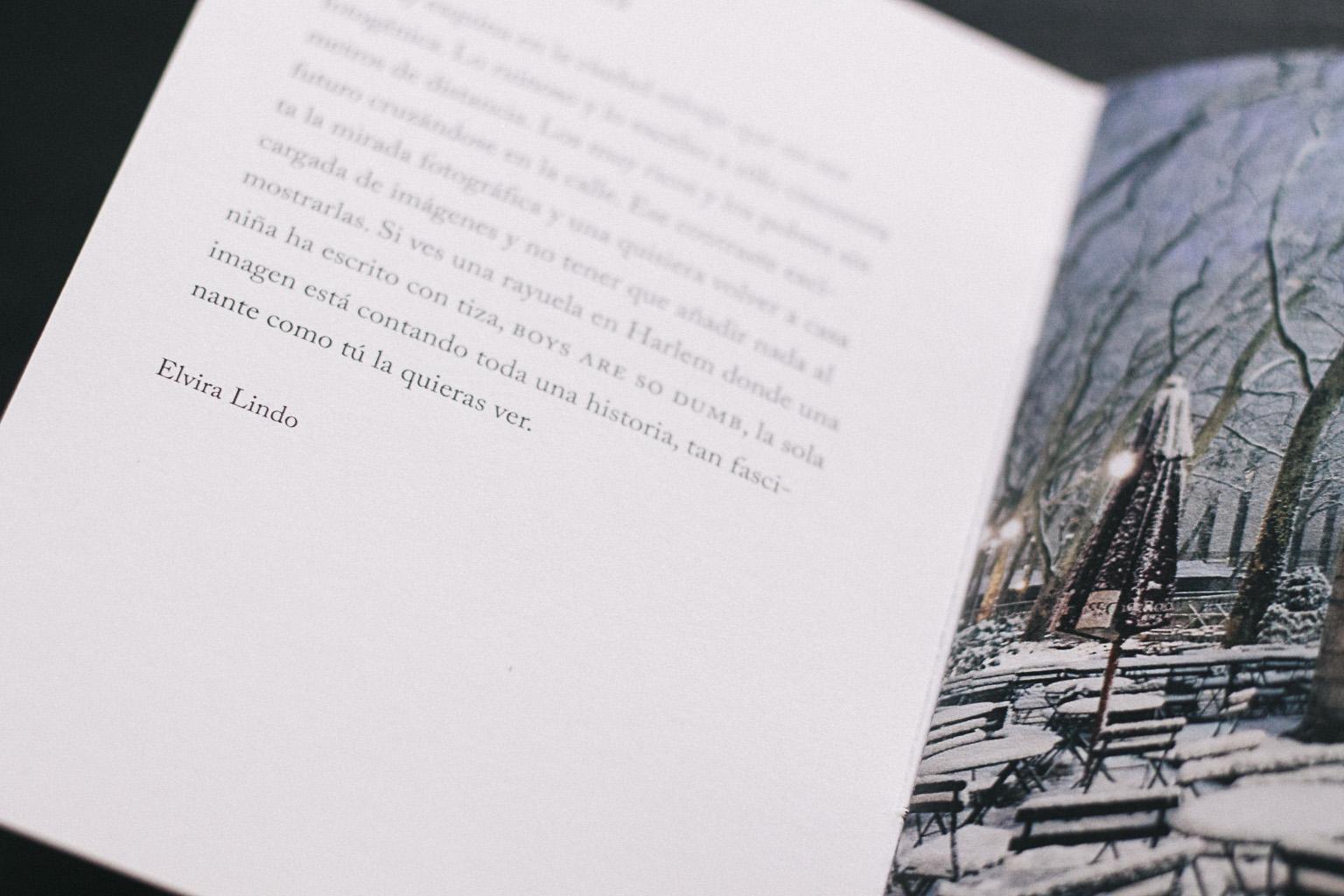 Páginas del fotolibro sobre Nueva York  Boys Are So Dumb de Elvira Lindo. Pages from the photobook about New York  Boys Are So Dumb by the writer Elvira LIndo.