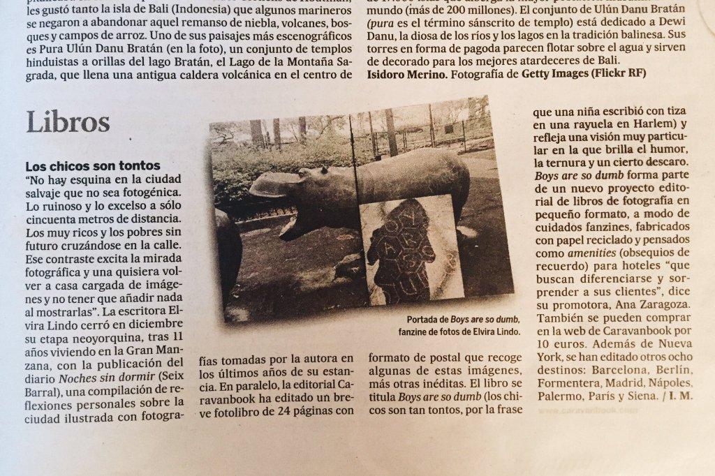 Reseña del libro  Boys Are So Dumb  de Elvira Lindo en El Viajero de El País.