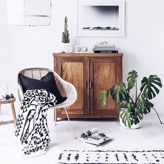 Doesnt the retro radio add a unique charm ? Along the mild grey cement floor and the rugged wooden cabinet, this living room makes for an amazing setting for a Monstrea to complete it.