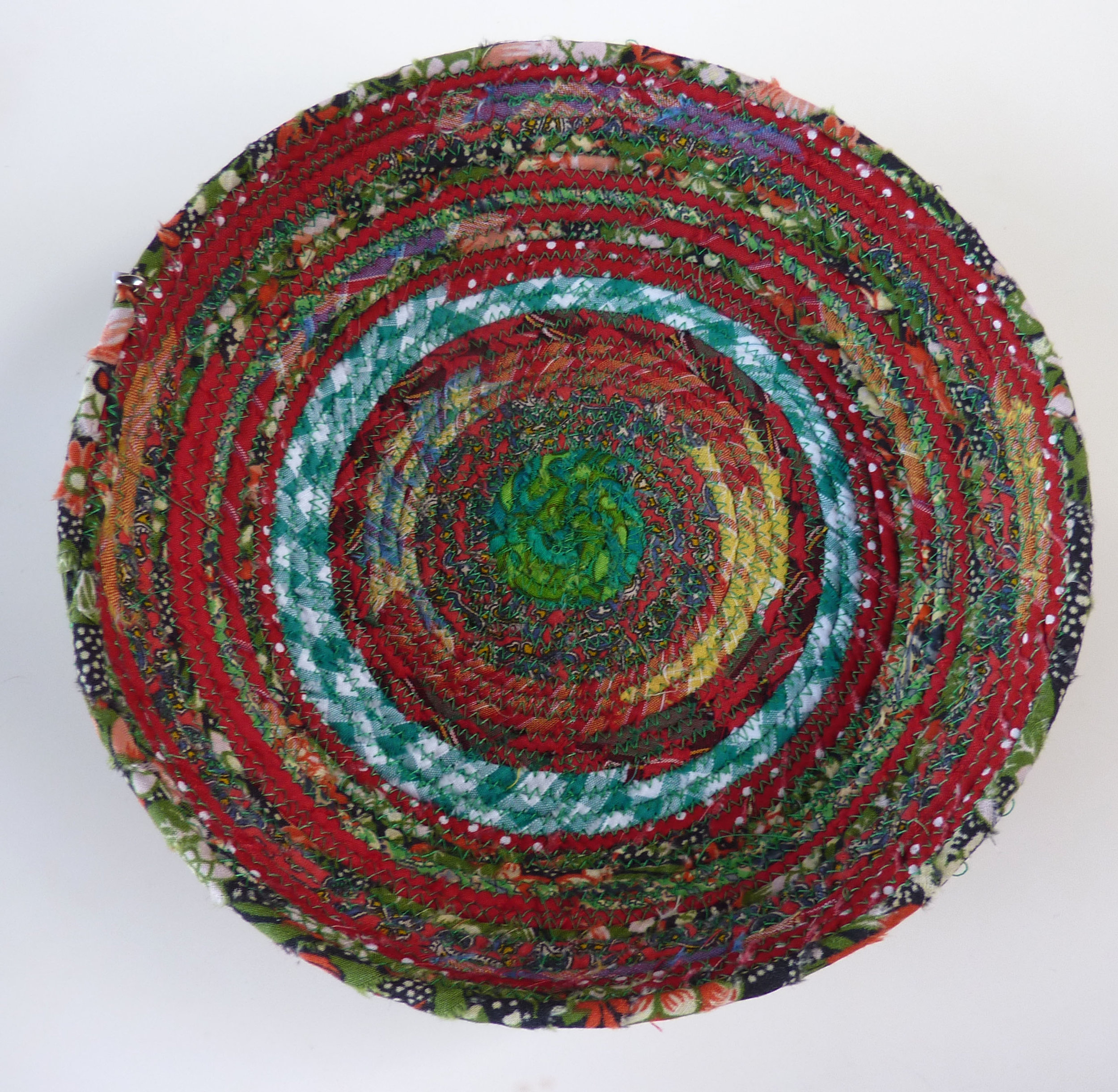 red & green coiled fabric basket