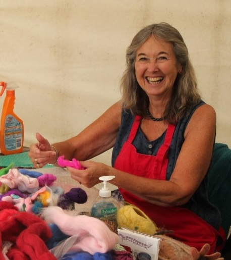 Nancy Shafee with a happy felter at Wisley 2017.jpg
