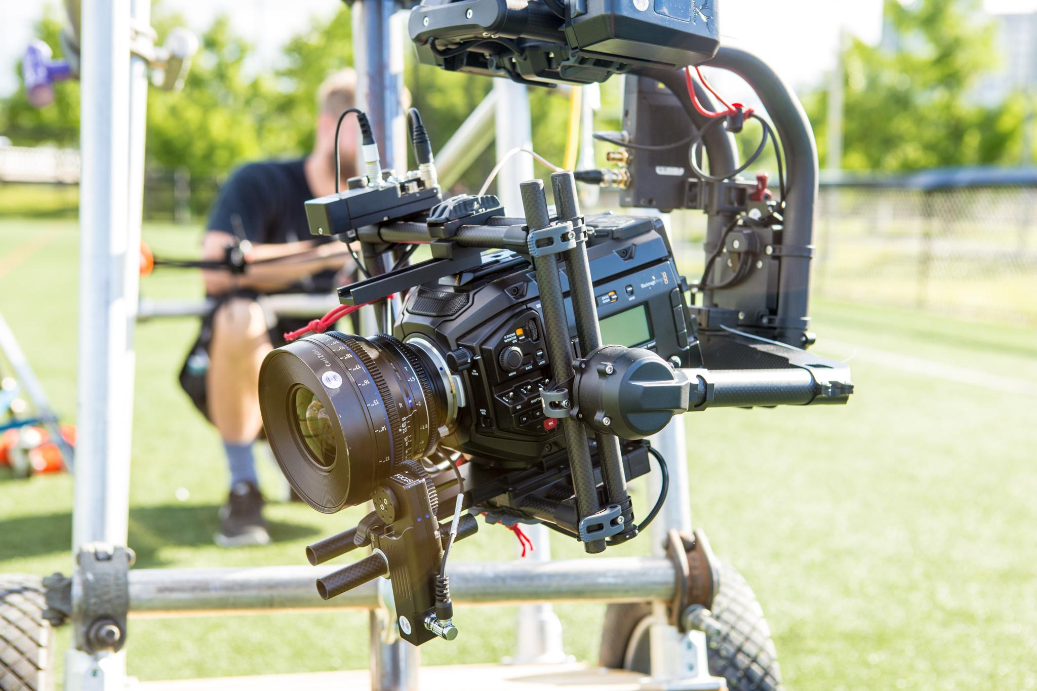 Our main cinema camera. The Black Magic Ursa Mini Pro 4.6k on a borrowed Movi Pro, Canon CN-E lens, Teradek Bolt sdi transmitter, and RT Motion wireless follow focus.