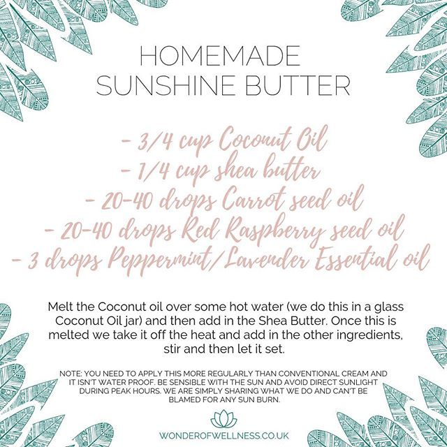 Lots of you asked for our homemade sun lotion recipe so here it is. Please be sensible with the sun. This doesn't block the suns rays like conventional suncream 💫
