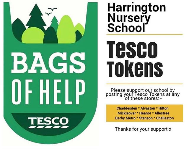 Please Help Vote For Us With Your Tesco Tokens At Any Of The Participating Stores Listed. As Always Thank You For Any Help You Give To Our Wonderful #Children.  A BiG THANK YOU #Tesco For Supporting Our Little #HarringtonNurserySchool #Derby #School #Garden #Outdoor #Play #Education #Shopping #BagsOfHelp #Support