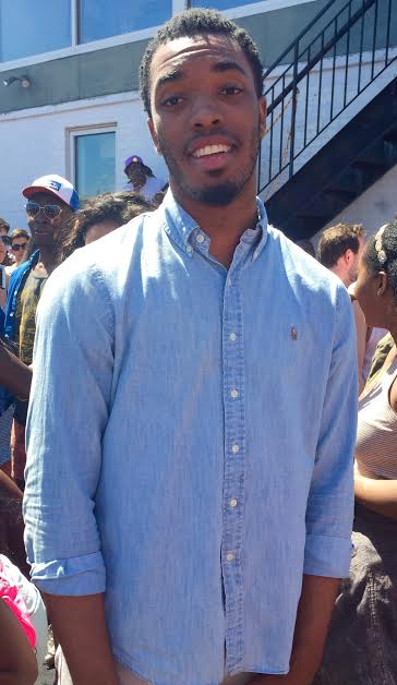 Idris Mitchell '18 wearing a timeless long sleeve denim shirt, something temperature appropriate.