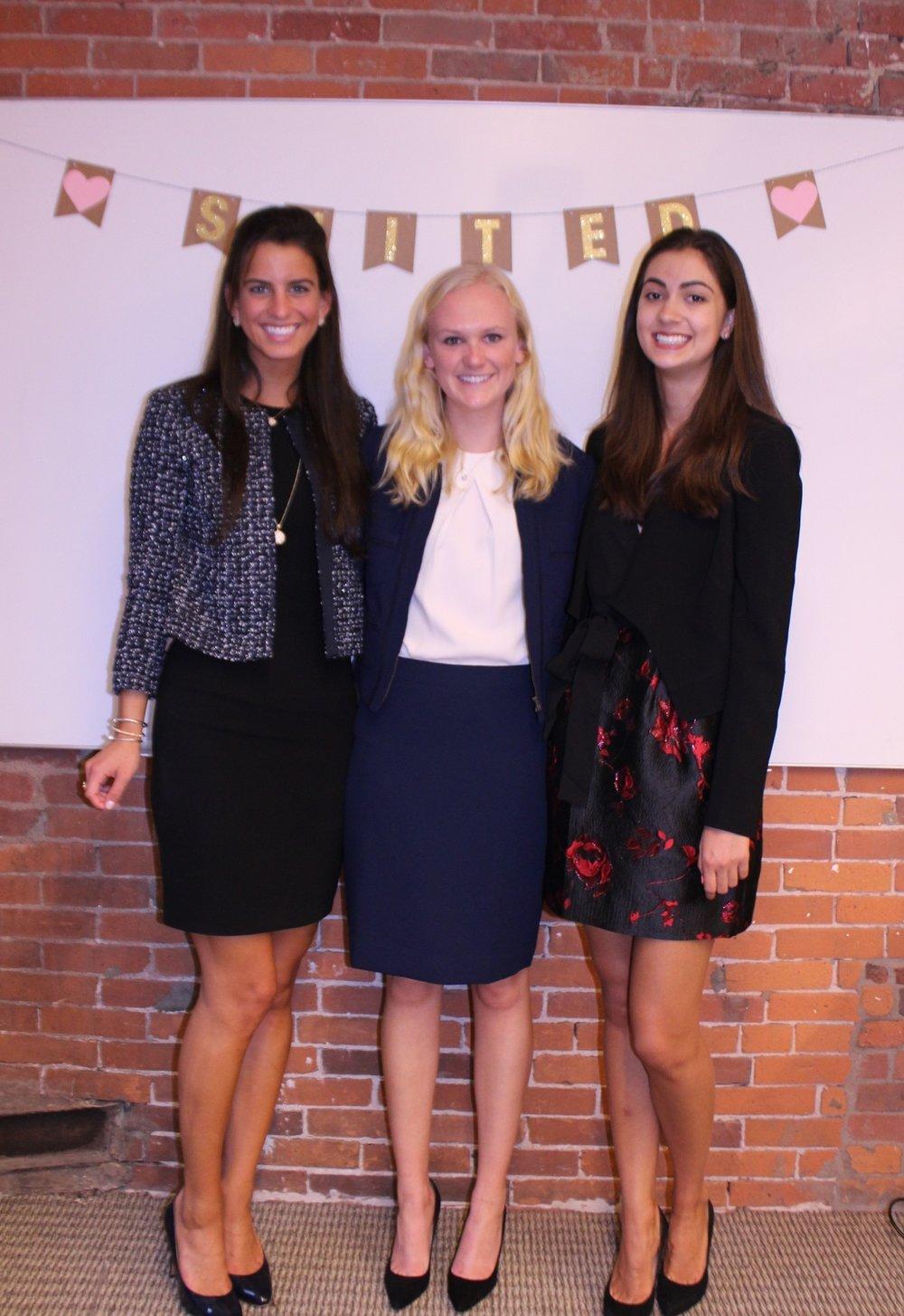 Suited's three undergraduate ambassadors: Lexi Henkel, Miranda McKay and Maya Rodriguez.