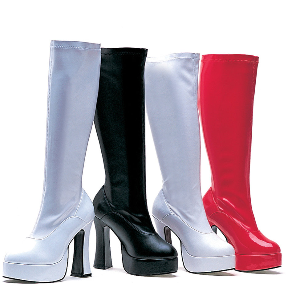 Brightly colored vinyl go-go boots