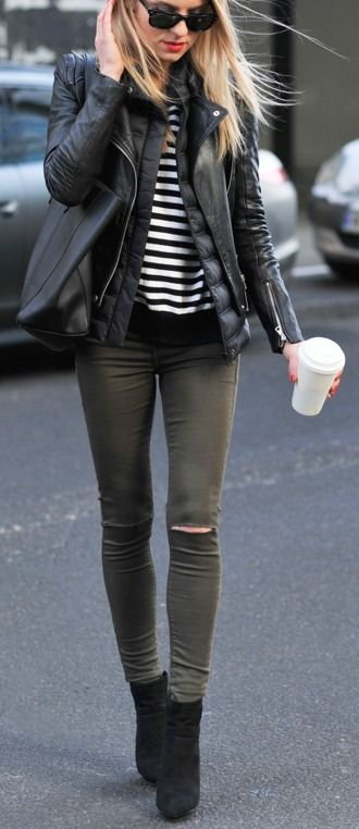 """Add a pair of heeled black booties for an """"on-the-go"""" city look."""