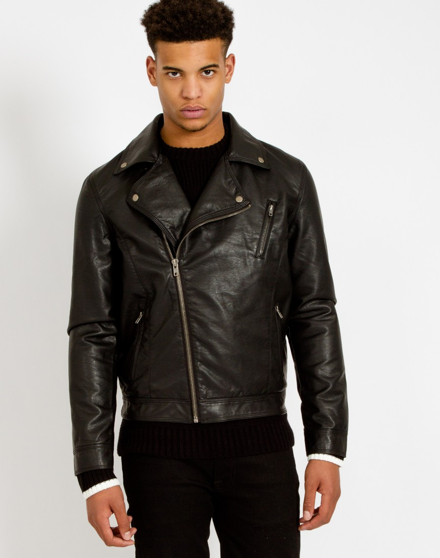 The Idle Man's Faux Leather Jacket looks almost identical to a normal leather jacket, but it also can take much more wear and tear.  Image via  The Idle Man