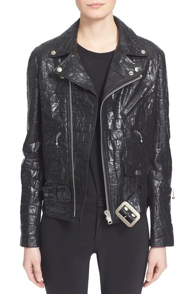 The Croc print style of this Junya Watanabe piece would be almost impossible to fashion out of actual leather, giving faux leather a unique advantage.  Image via  Nordstrom