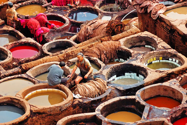 Leather tanneries in Morocco are part of a centuries old tradition of leather and textile production in the Maghreb- Image via    Dynamic Africa