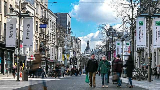A boutique lined street in   Antwerp ( image via  gettyimages )