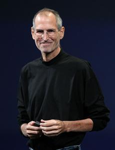 Source:  Getty Images    Steve Jobs in his signature Miyake-designed mock turtleneck.