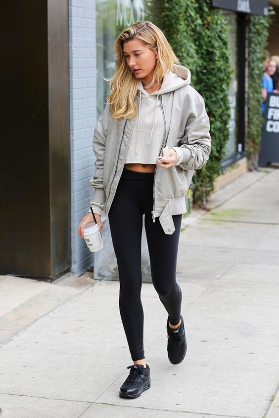 Model Hailey Baldwin caught off duty wearing a cropped hoodie  (image via  media-cache )