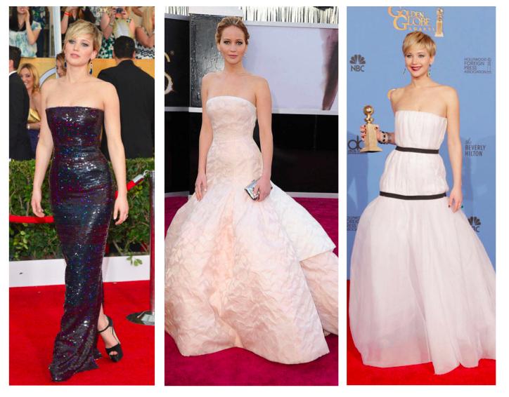 Jennifer Lawrence, a brand ambassador for Dior, has worn the label for multiple high-profile award show appearances. Images via  Elle