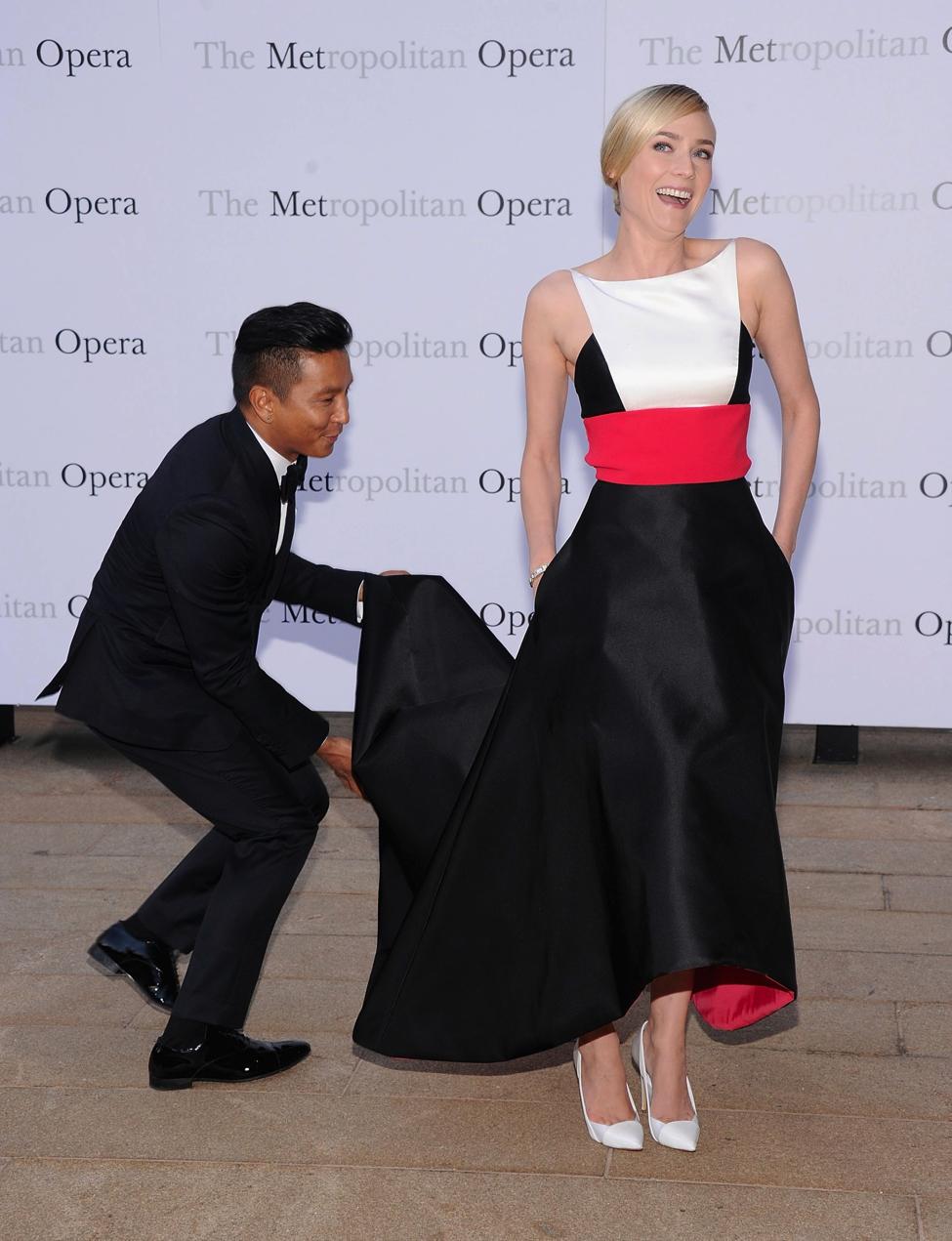 Designer Prabal Gurung accompanies actress Diane Kruger, who is wearing one of his designs, on the red carpet. Image via  Pop Sugar