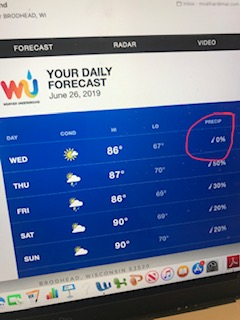 A day with  0%  precipitation!  Finally…a day that feels like summer.  Hope those tomato plants take advantage of all this beautiful sunshine! They have some catching up to do!