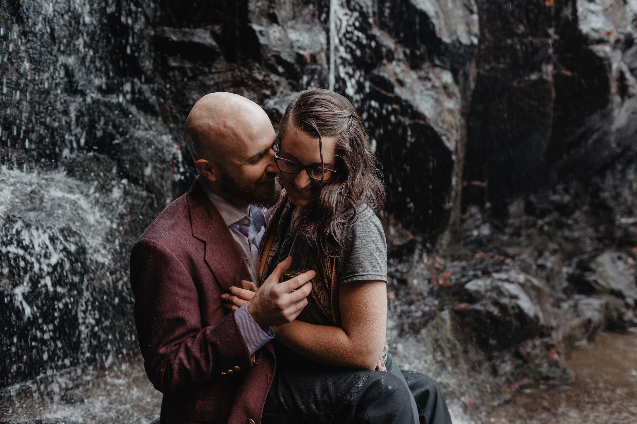 Spruce Flats Falls Engagement | Smoky Mountains Wedding Photogra