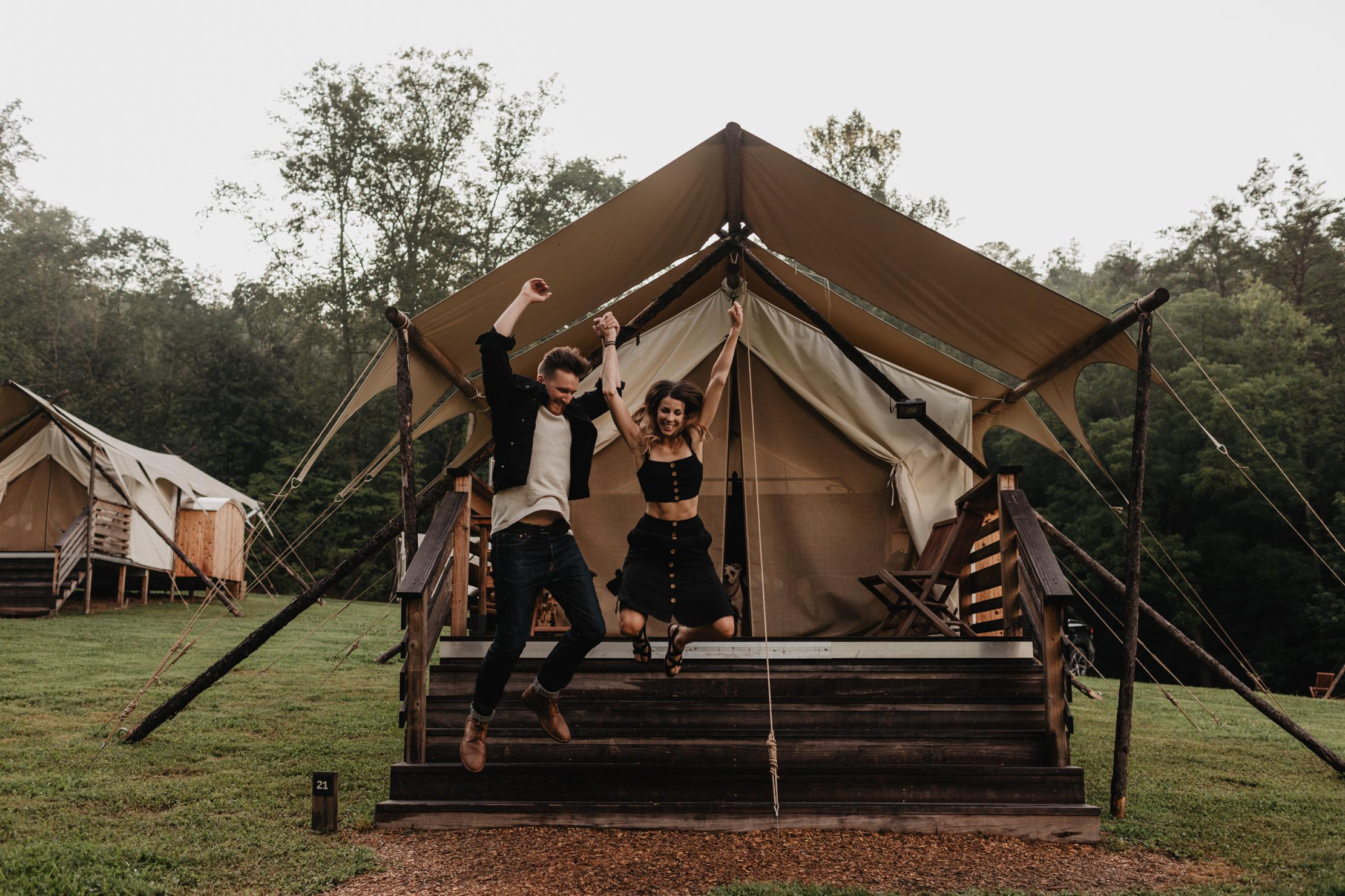 Proposal Engagement Photo Shoot at Under Canvas Smoky Mountains