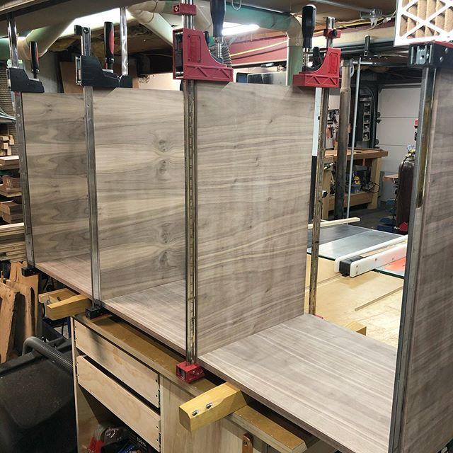 Coming together. . . . #woodworking #handmade #custom #furniture #walnut #vanity #modern #midcenturymodern