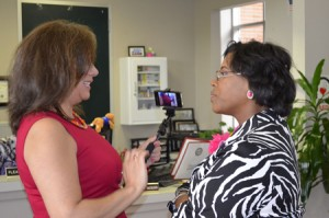 Being Interviewed during Global Women's Business Summit by Cynthia Cisneros, VP of Community Affairs at ABC 13
