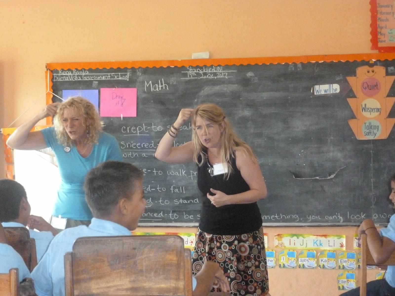 """My good friend, co-author, co-leader Joy Stephens and I at one of our """"Edu"""" mornings."""