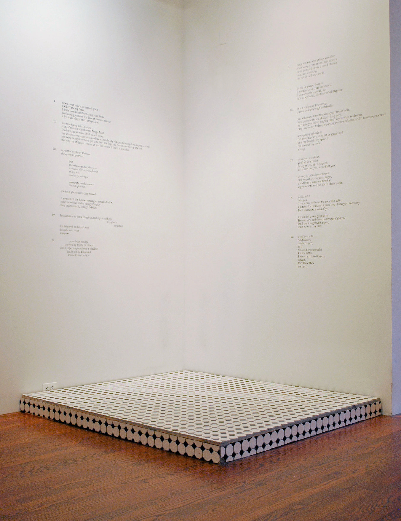 6 ft. x 5 ft. x 8 ft., Tile, wood, and pencil, Installed 2017