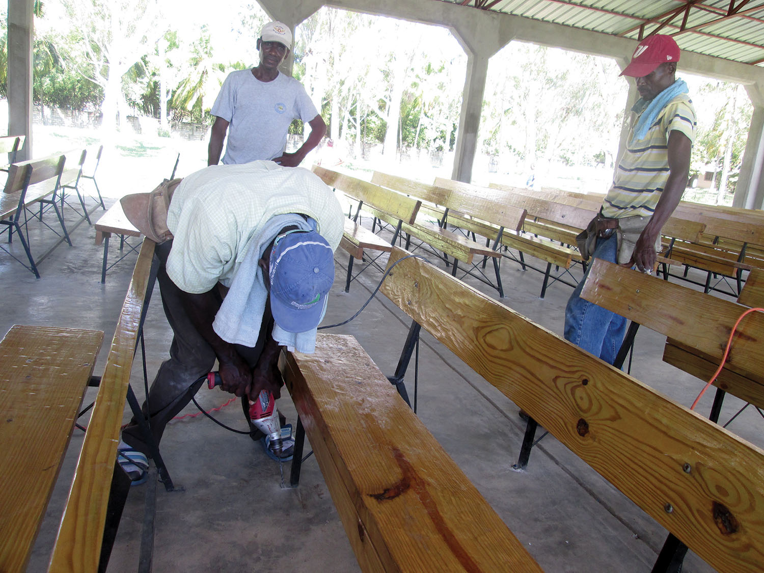 100% Haitian made by our carpenters and welder, church benches provide more seating in our churches.