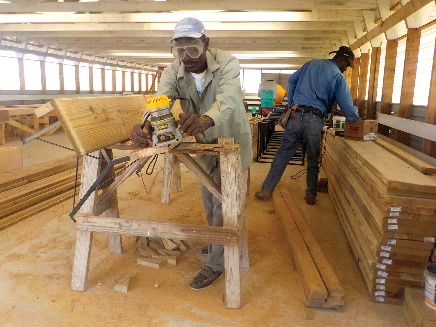 Our carpenter, Joseph Elson Clergeau (his nick name is Sonny), is building church benches at our mission.