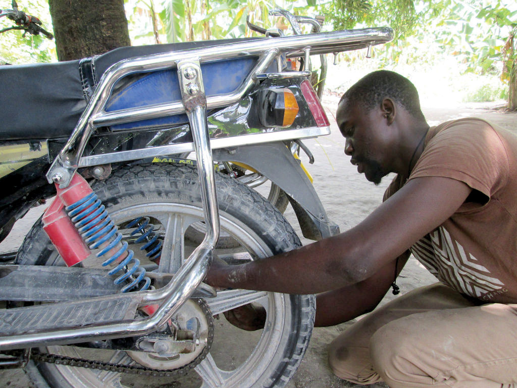 Today, Peterson Salomon owns a motorcycle shop in Masson, and teaches mechanics at our trade school.