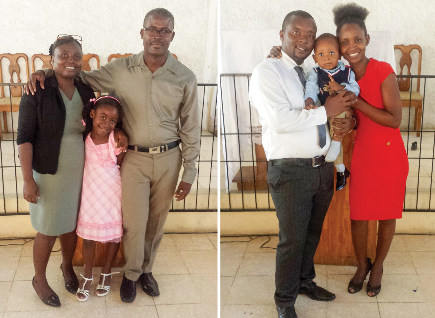 Left: The Estinfil family: Lycée, Shelaica and Julia attend church together, and see Jesus as the hope for Haiti. Right: The Edmond family: Robenson, Rooby and their young son Darline look forward to the day when he starts school at New Missions.