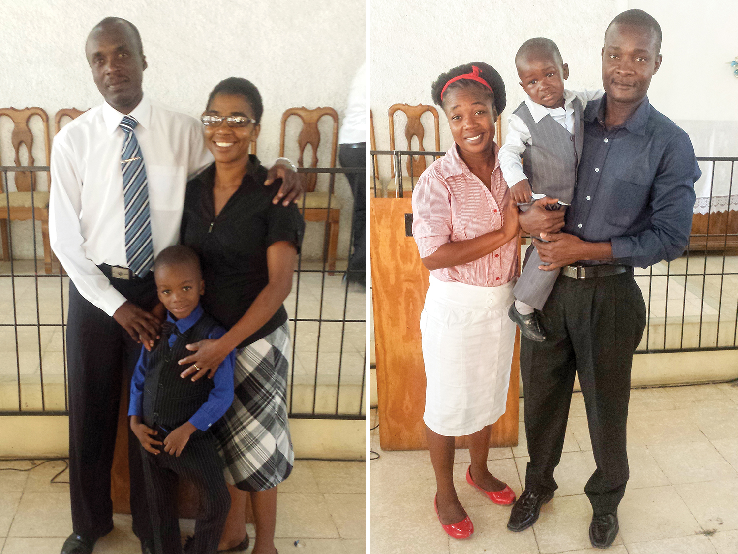 Left: The Paul family: Buteau, Joceline and Ruchama are thankful for the joy of the Lord. Right: The Delva family: Emmanuel, Lima, and Samuel covet your prayers for their New Missions church in Leogane.