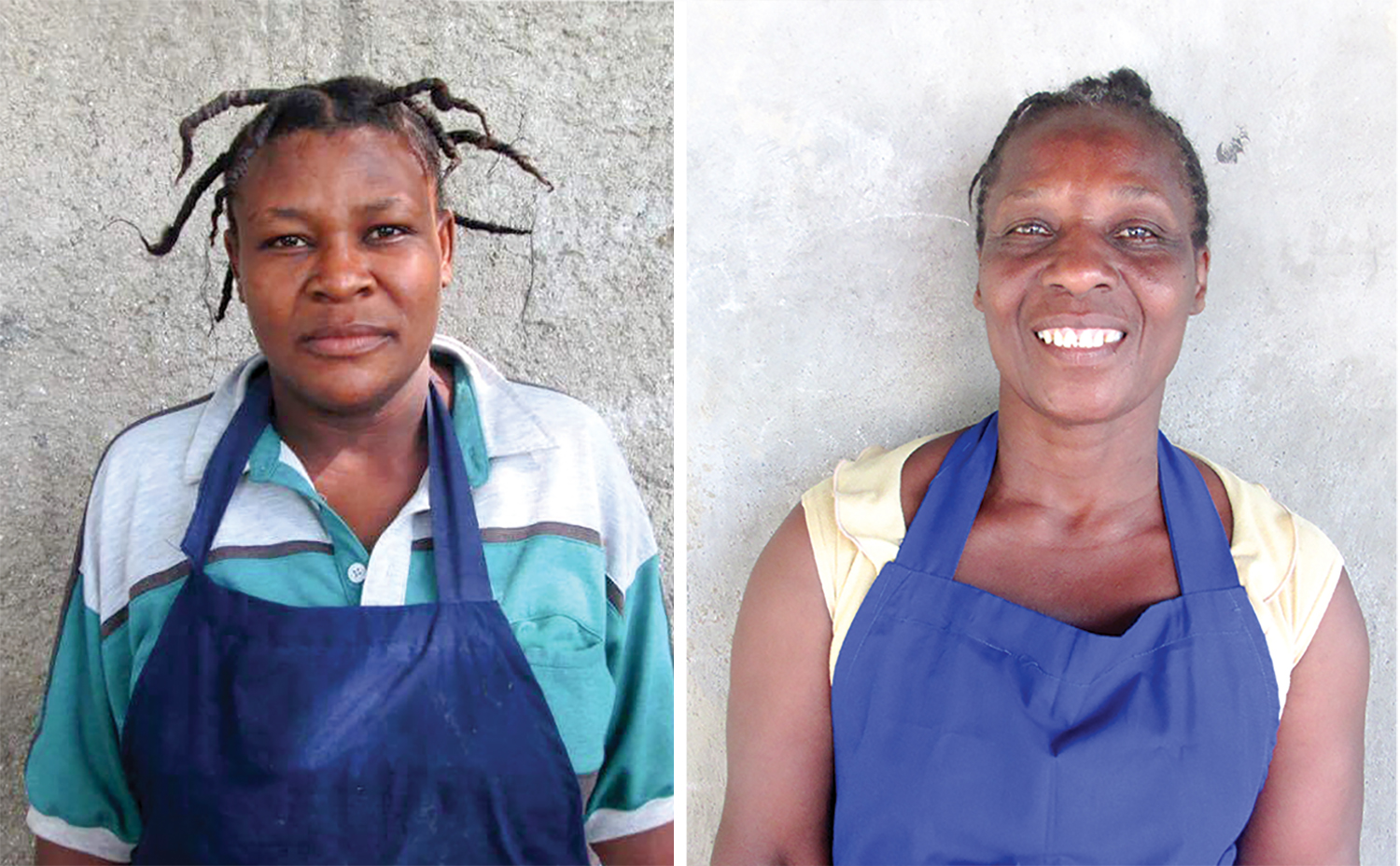 Left:  Rachelle cooks for the students at our school in Lassale.   Right:  Madame Emmanuel joyfully serves as a cook for our high school students.