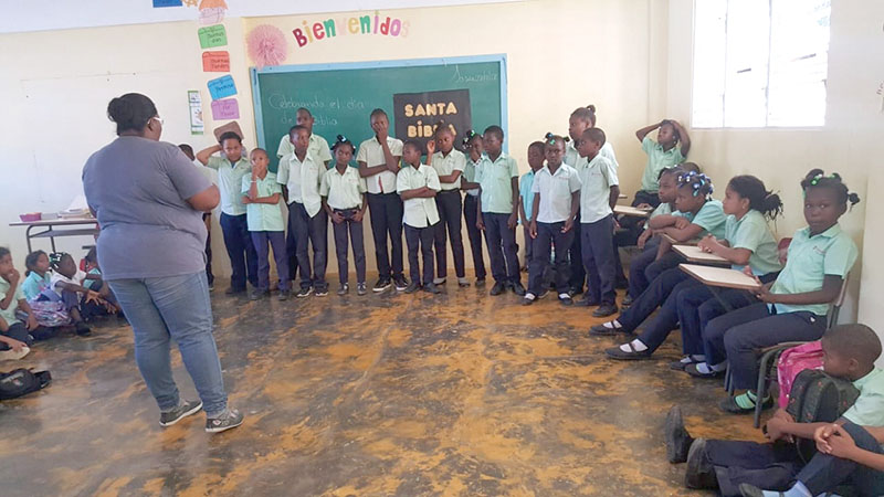 Students from our school in Redemption Village celebrated National Bible Month by singing songs and reciting Bible verses they had memorized.