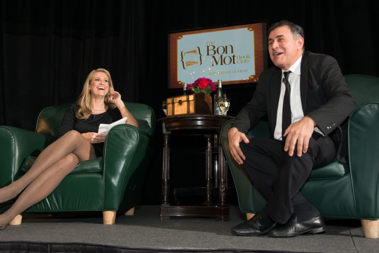Leah Costello, Producer of Bon Mot Book Club & Nouriel Roubini, speaker. Lindsey Donovan, photographer.