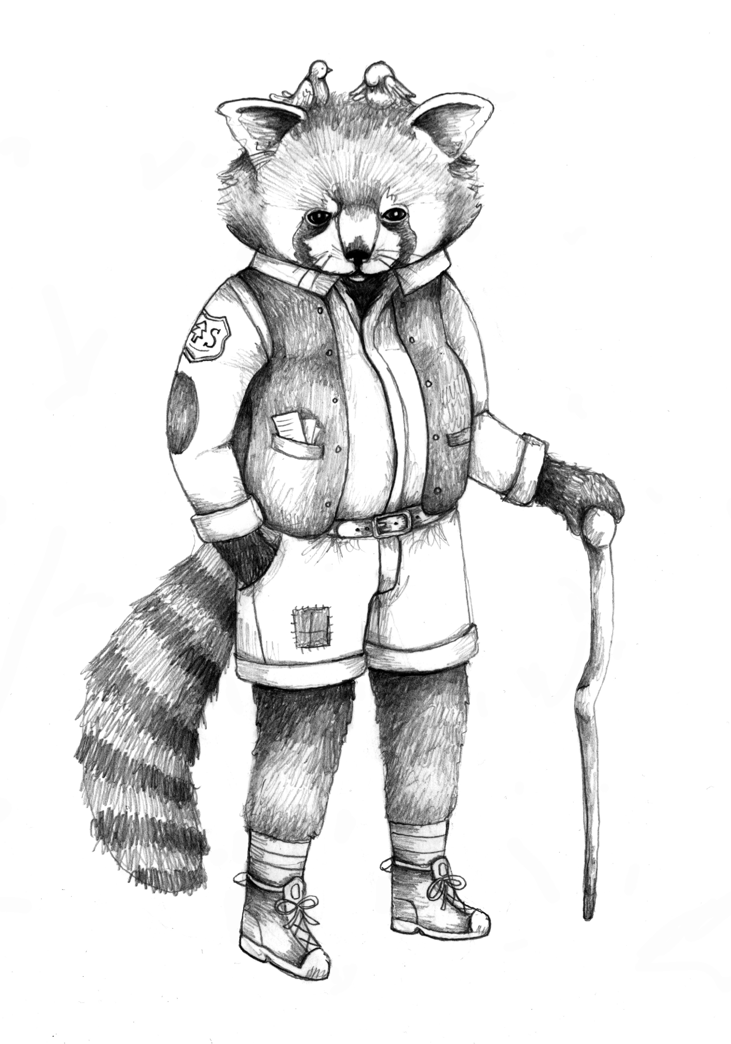 Starting with this pencil drawing of a cool Red Panda Ranger...
