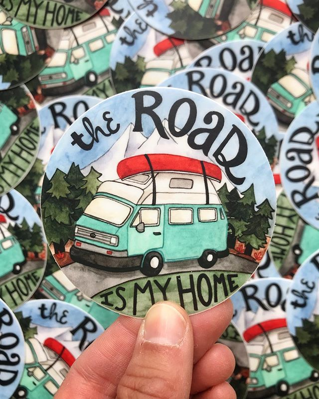 "Excited to be offering two new stickers for all the nomads and adventure seekers out there! Each sticker measures 3"" and sells for $4. These vinyl stickers are super durable, waterproof, and would look awesome on any water bottle, bumper or laptop. Get yours thru the link in my bio!"