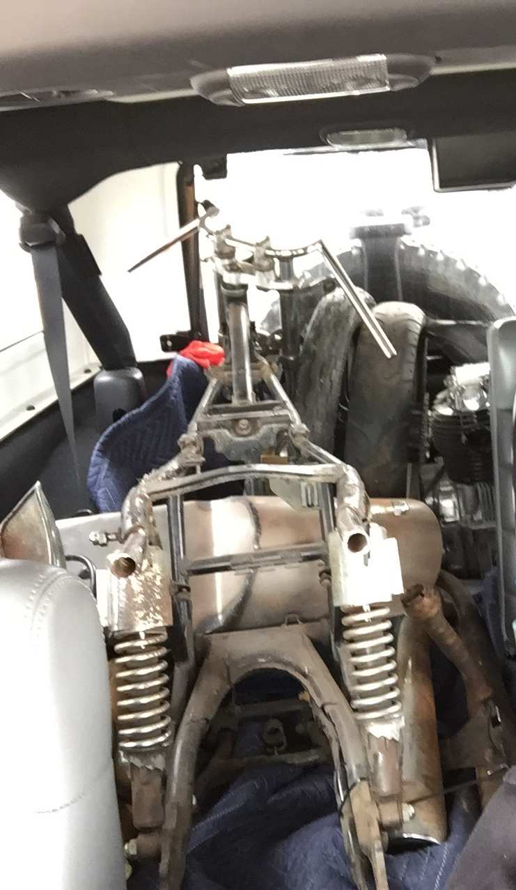 I happened to have the jeep on the day I made the trip to check out the XS400 I saw on craigslist. No worries! With the engine out of the frame and the wheels loose, I was able to throw the whole bike in the back.