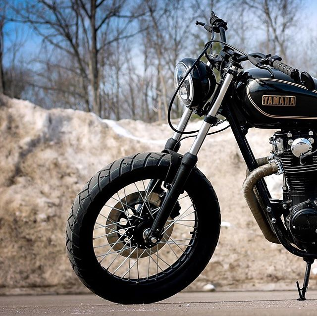 The latest from the @TherapyGarage is this 1978 Yamaha XS650 tracker build.