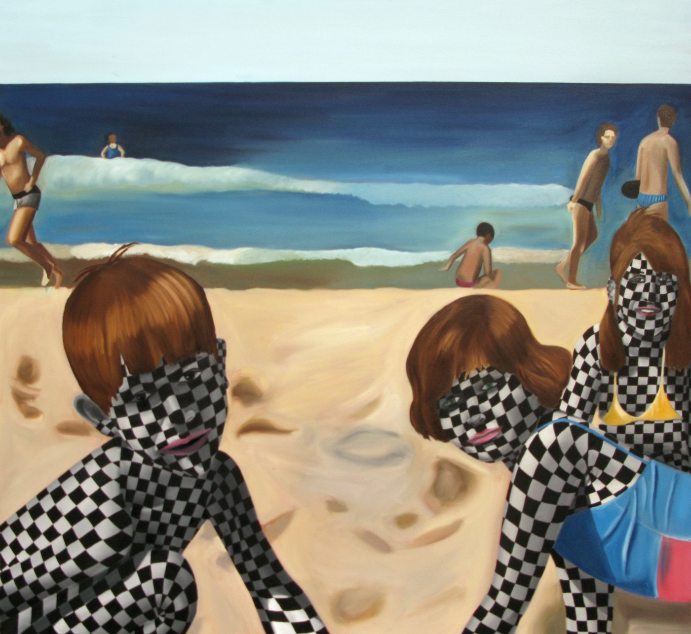 Checkered Childhood <br> Oil on canvas <br> 90 x 100 cm,2010