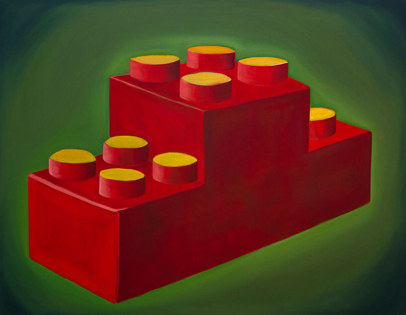 Lego Podium, oil on canvas <br> 100 x 130 cm,2012